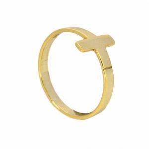 anillo cruz oro