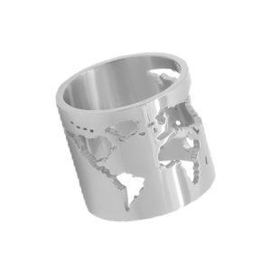 anillo mundo plata